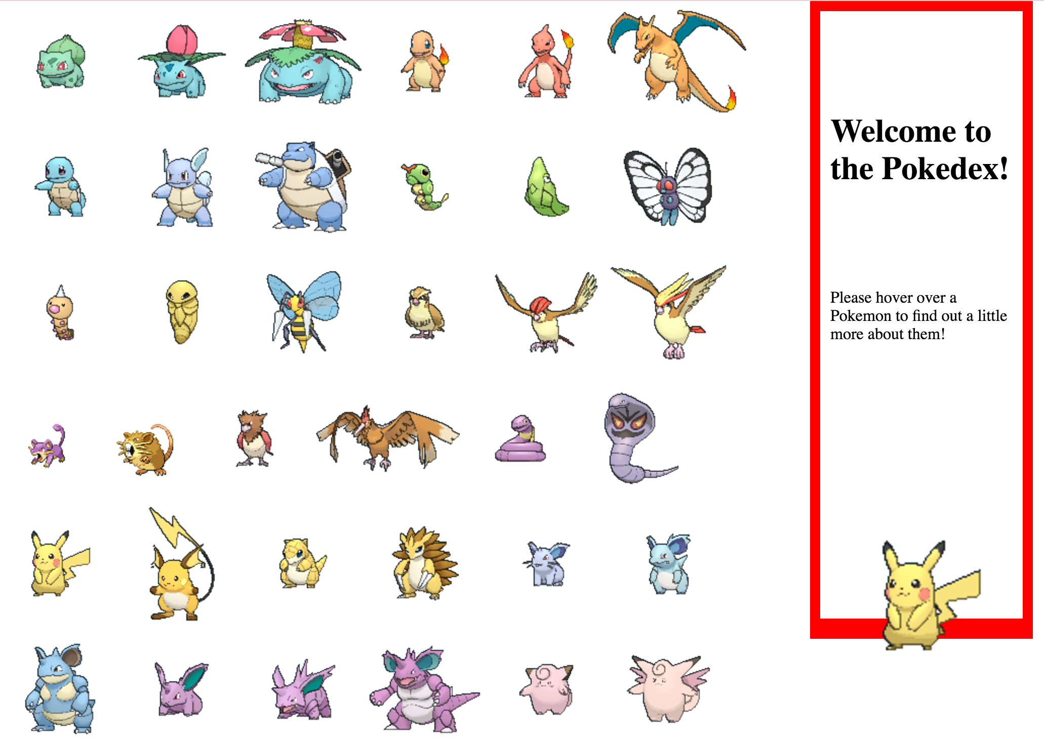 Pokedex website